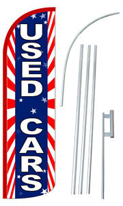Used Cars 3 Wide Windless Swooper Feather Banner Flag Advertising Sign Kit