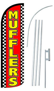 Mufflers Flag Kit 3 Wide Windless Swooper Feather Advertising Sign