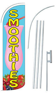 Smoothies Flag Kit 3 Wide Windless Swooper Feather Advertising Sign