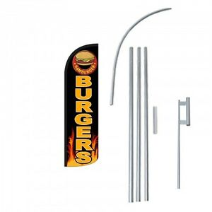 Burgers Flag Kit 3 Wide Windless Swooper Feather Advertising Sign