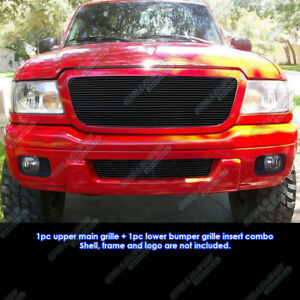 Custom Fits 04 05 Ford Ranger All Model Black Billet Grill Combo