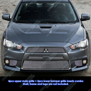 Custom Fits 10 11 Mitsubishi Lancer Evolution Billet Grill Combo