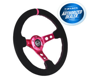 Nrg Deep Dish Steering Wheel 350mm Black Leather Red Stitch Neochrome Center