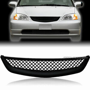 Jdm Mesh Style Black Abs Front Grille For 2001 2003 Honda Civic Sedan Coupe