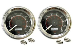 2 Viair 220 Psi Dual Needle Black Face 90080 Gauges With 1 8 Fittings Air Ride
