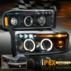 New 1994 2001 Dodge Ram 1500 2500 3500 Twin Halo Projector Led Black Headlights
