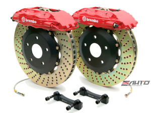 Brembo Front Gt Brake Bbk 4piston Caliper Red 332x32 Drill Disc Mustang 94 04