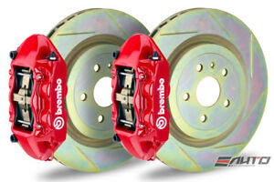 Brembo Front Gt Brake Bbk 4pot M Caliper Red 355x32 Slot Rotor Mustang 05 13