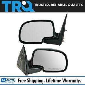 Gloss Black Manual Mirror Pair Set For Chevy Yukon Silverado Pickup Truck