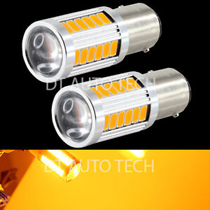 2x 1156 Projector 5630 Chip Led Yellow Amber Turn Signal Brake Tail Lights Bulbs