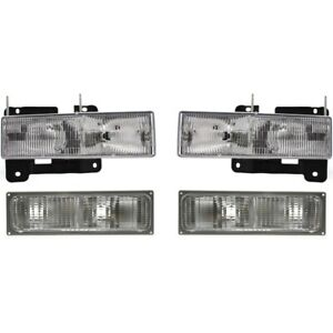 Headlights Composite Parking Lights Lamps Kit Set Of 4 For Chevy Gmc Blazer C K