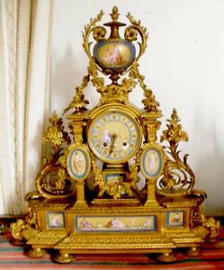 Big French Bronze Ormolu Clock Sevres Handpainted Porcelain Inserts 1800 S