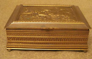 Antique Austrian Bronze Box With Female Nude In Relief