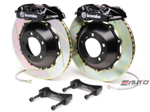 Brembo Rear Gt Brake 4pot Caliper Black 345x28 Slot Rotor For Sti Legacy Gt 3 6r