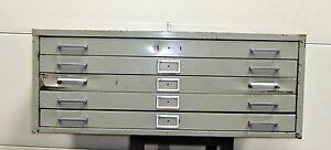 sls1a4 Blue Print Cabinet 5 Drawer Size 26 x36 x2 Dented On Drawer 16615sl