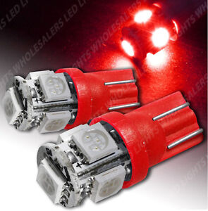 T10 192 194 168 W5w Car Red 5 Smd Led Interior License Plate Dome Map Light Bulb