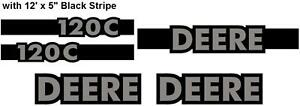 John Deere 120c Excavator Decal Set With 12 X 5 Black Stripe Jd Decals