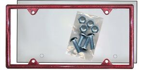 Ruby Red Glitter Plastic License Plate Frame Kit Bling Gifts Shield Screws