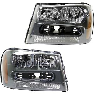 Halogen Headlight Set For 2002 2009 Chevy Trailblazer Left Right W Bulbs Pair