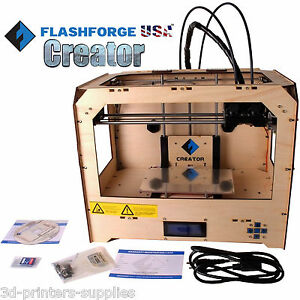 Flashforge Usa 3d Printer Creator I With Abs pla Spools Dual 2 Extruder Noozles