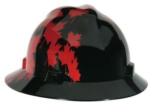 Msa Full Brim Hard Hat Canadian Black W Red Maple Leaf Csa Z94 1 2005 Ansi Z89