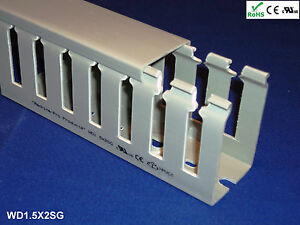 18 New 1 x1 5 x2m Wide Finger Open Slot Wiring Cable Raceway Duct Cover pvc gray