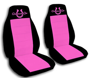 Black And Hot Pink Cowgirl Up Seat Covers For A 2002 2004 Jeep Liberty