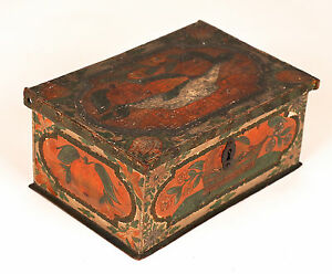 Antique Polychrome Painted Box Coffret Casket Early 19th C Or Earlier 2