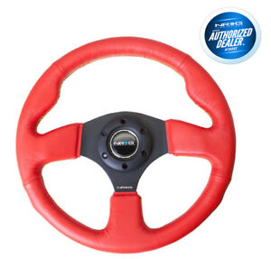 Nrg Race Steering Wheel 320mm Red Leather With Yellow Stitch St 012rr ys
