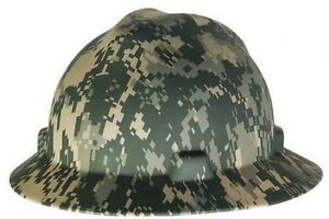 Msa 10104254 V gard Camouflage Full Brim Hard Hat W Fastrac Ratchet Suspension