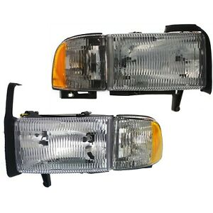 Headlight Set For 94 2001 Dodge Ram 1500 Left Right Single Beam W Corner Light