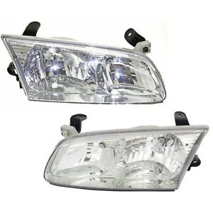 Headlight Set For 2000 2001 Toyota Camry Sedan Left And Right With Bulb 2pc