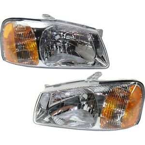 Headlight Set For 2000 2001 2002 Hyundai Accent Left And Right With Bulb 2pc