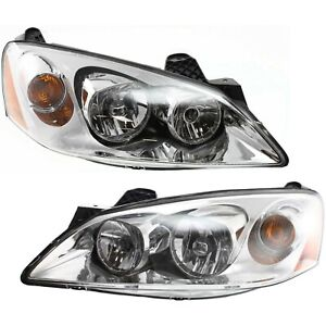 Headlight Set For 2005 2010 Pontiac G6 Driver And Passenger Side W Bulb