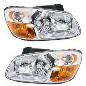 Headlight Set For 2007 2009 Kia Spectra Left And Right With Bulb 2pc