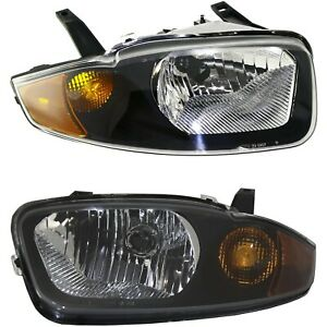 Halogen Headlight Set For 2003 2005 Chevy Cavalier Left Right W Bulb s Pair