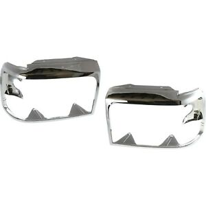 Chrome Headlights Headlamps Trim Bezel Pair Set Ford Bronco F150 Pickup Truck