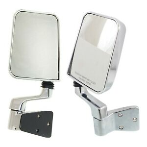 Manual Mirror Set For 1987 1995 Jeep Wrangler Yj Metal Housing With Arm Chrome