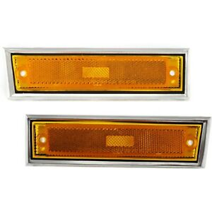 Side Chrome Bezel Marker Light Pair Set For Chevy Blazer Gmc Jimmy C K R Pickup