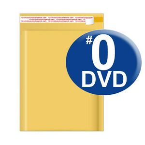 Size 0 6 5x9 Kraft Bubble Mailer Dvd Cd wide 250 Ct ships Today