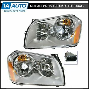 Headlights Headlamps W Chrome Housing Left Right Pair Set For 05 07 Magnum