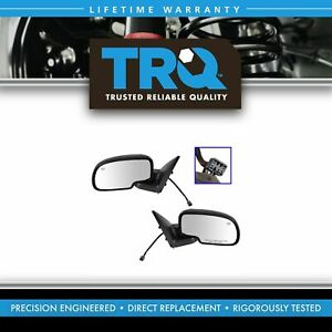 Chrome Heated Power Side View Mirrors Left Right Pair Set For Chevy Gmc Truck