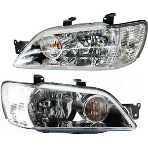 Headlight Set For 2002 2003 Mitsubishi Lancer Left And Right With Bulb 2pc
