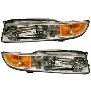 Headlight Set For 99 2001 Mitsubishi Galant Left And Right With Bulb 2pc