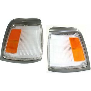 Corner Light For 92 95 Toyota Pickup W Gray Trim Set Of 2 Lh Rh Incandescent