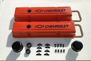 Chevrolet Steel Valve Covers Orange Stock Height Kit Sbc 283 327 350 383 400 New