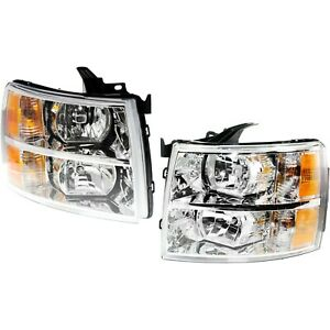 Headlight Set For 2007 2013 Chevrolet Silverado 1500 Left Right W Bulb
