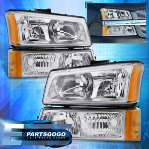 For 03 06 Chevy Silverado Chrome Amber Corner Head Lights Signal Bumper Lamps