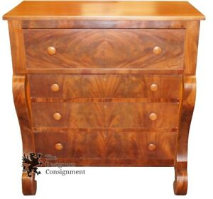Antique Walter Meador Federal Style Victorian Bonnet Chest Of Drawers Dresser