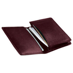 Royce Leather Deluxe Business Card Case Top Grain Nappa Leather Burgundy
